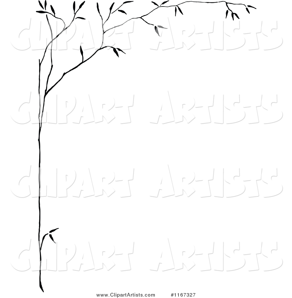 Retro Vintage Black and White Thin Tree Border Clipart by ...