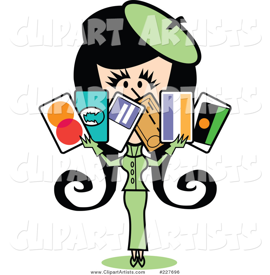 Retro Woman in a Green Suit, Holding a Bunch of Credit Cards