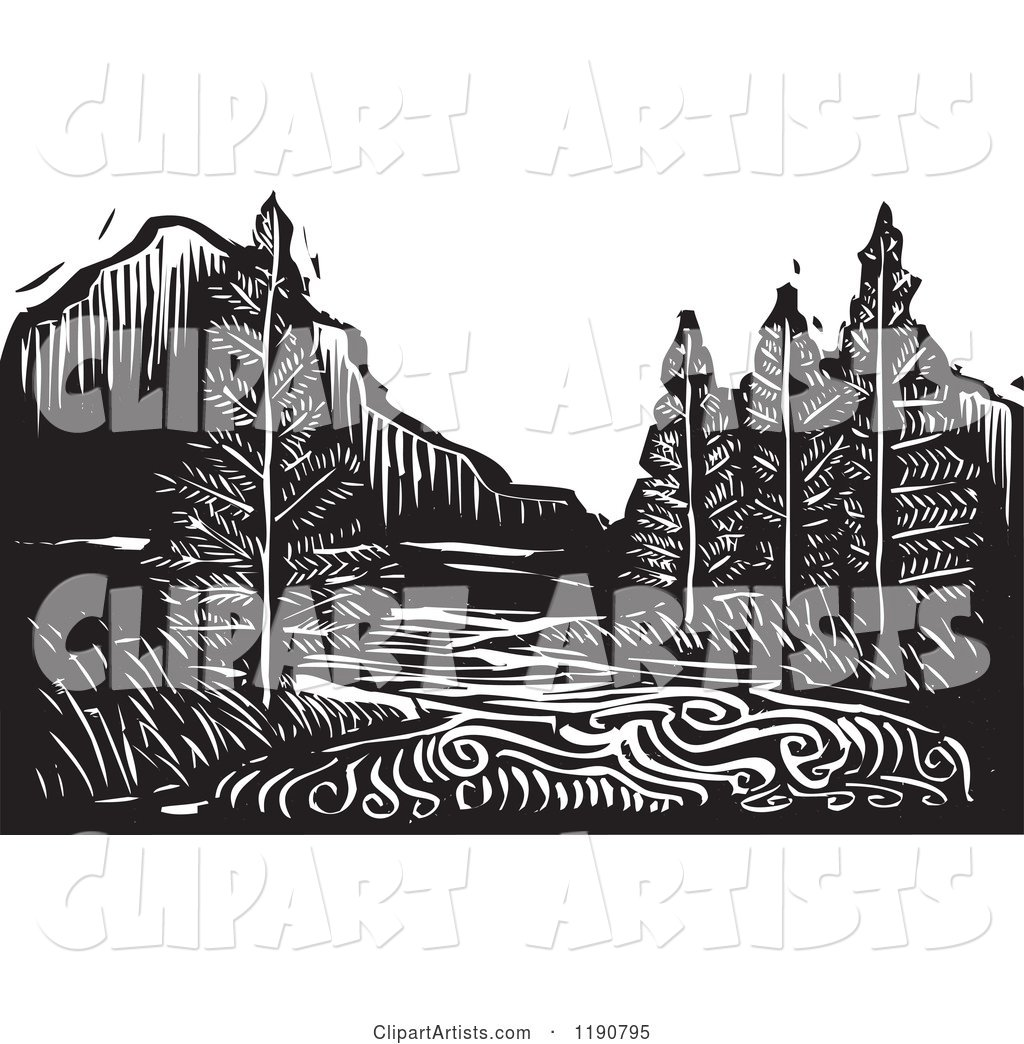 River Mountain and Evergreen Landscape Black and White Woodcut