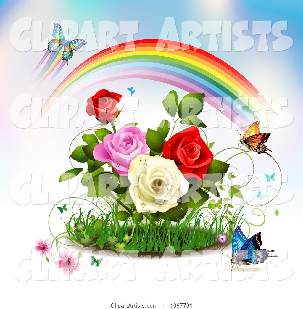Rose Garden with Butterflies and a Magical Rainbow