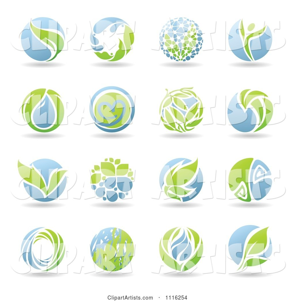 Round Green and Blue Organic Leaf Icons
