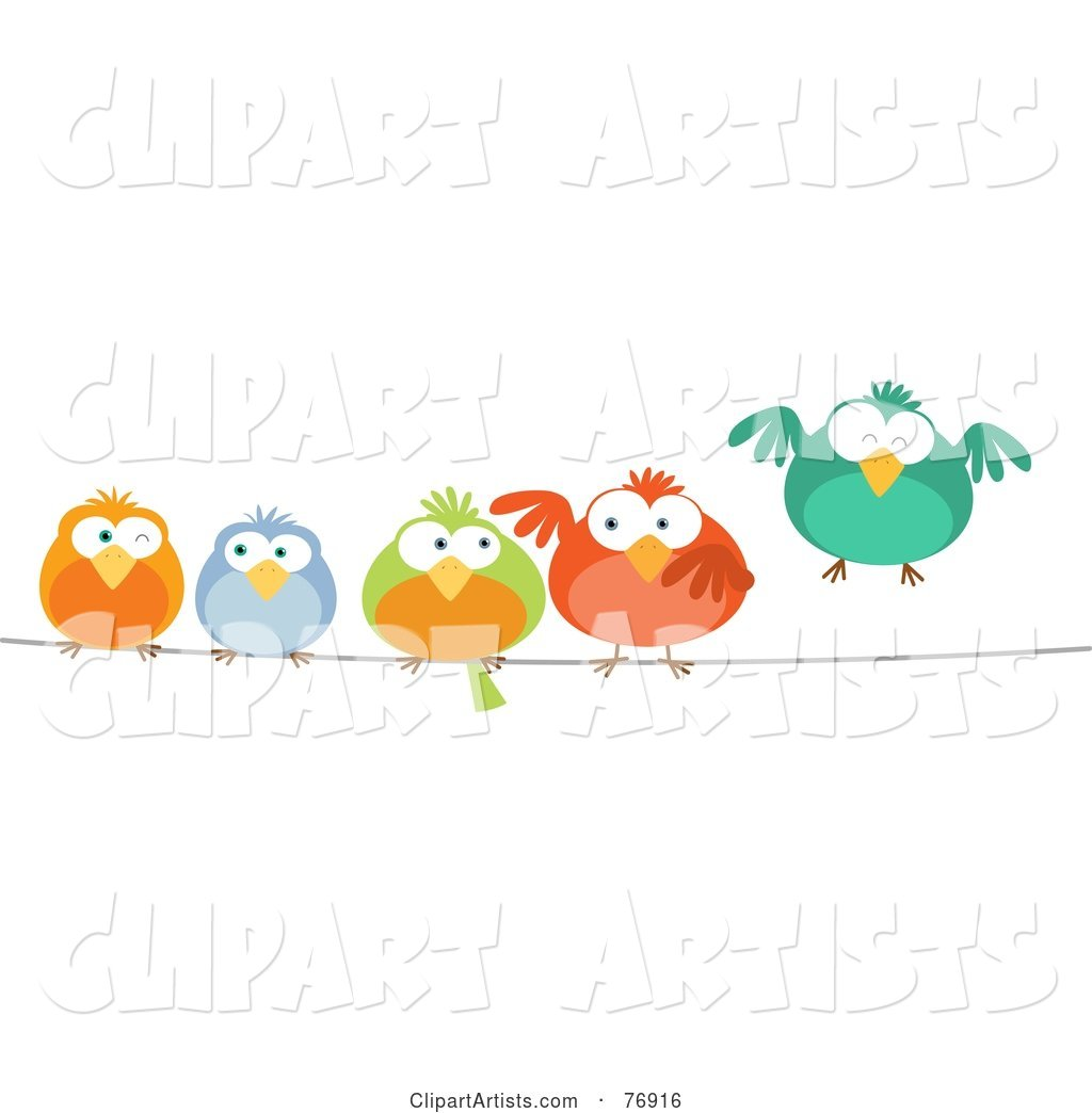 Row of Colorful Birds on a Wire