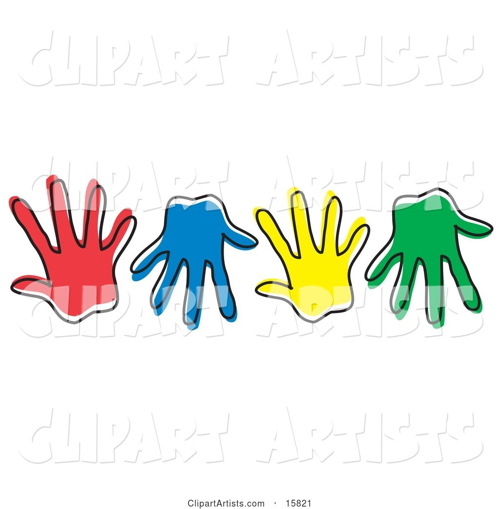 Row of Different Colored Hand Prints