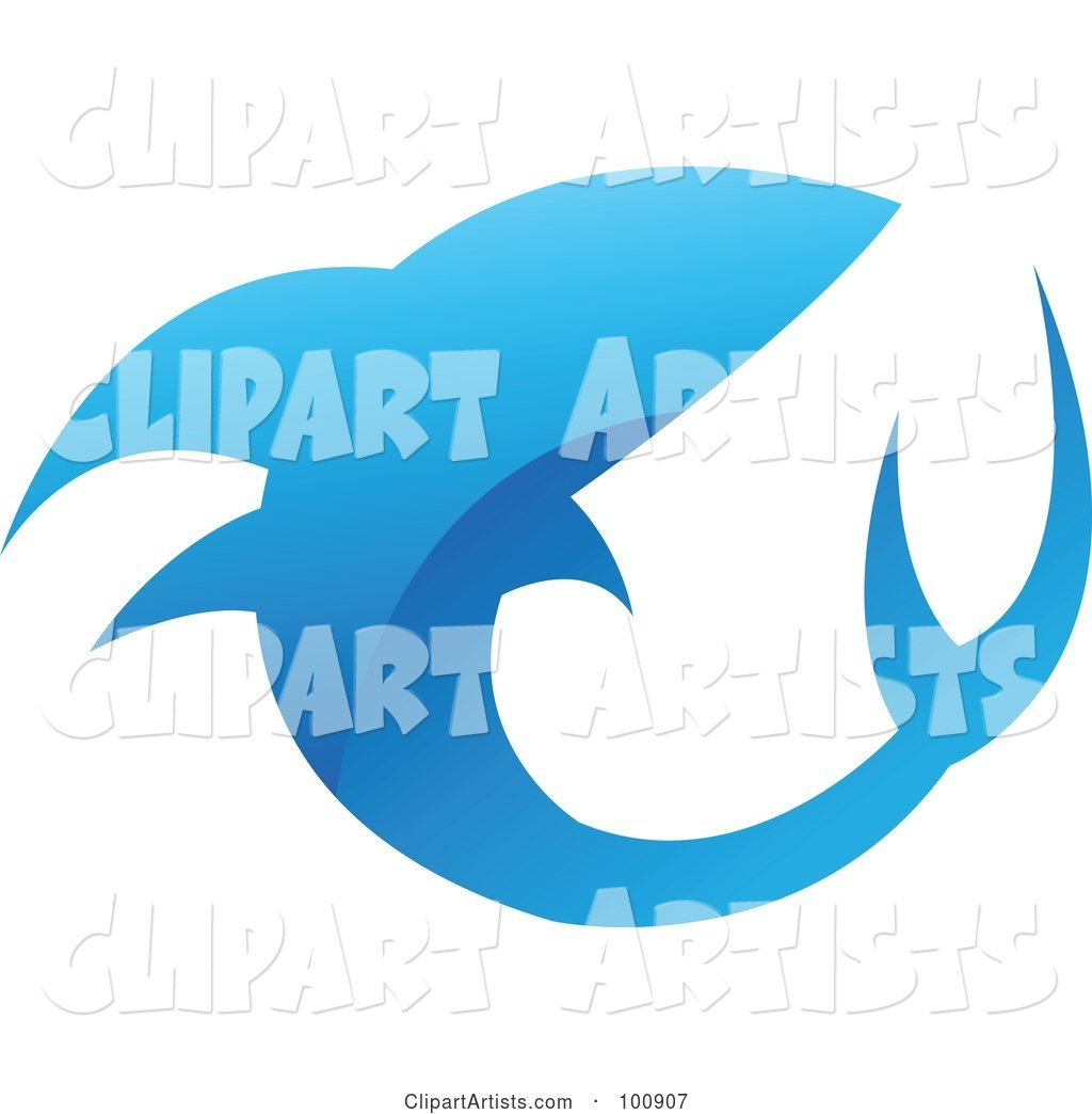 Royalty-Free (RF) Clipart Illustration of a Glossy Blue Shark Icon Logo