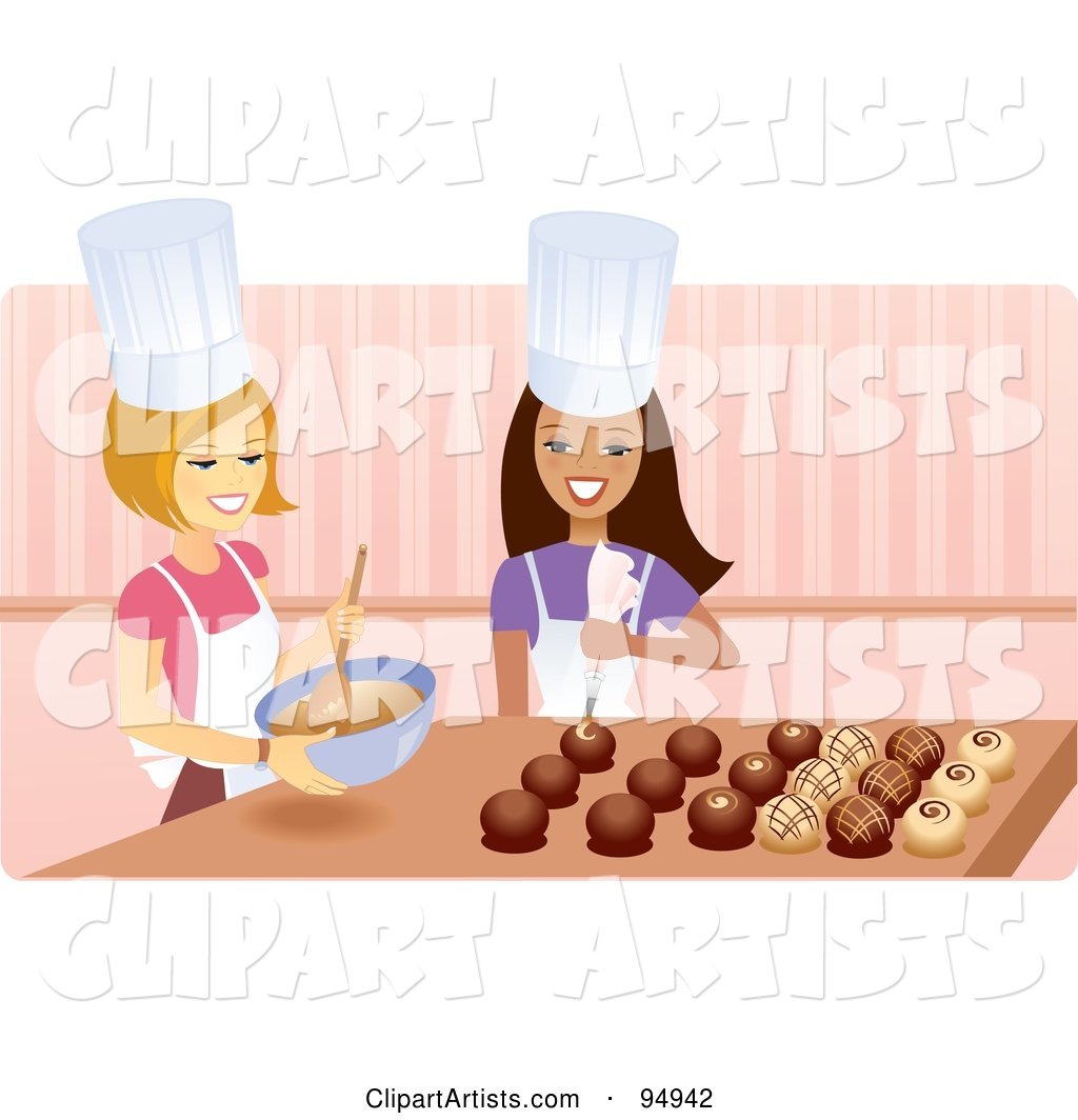 Royalty-Free (RF) Clipart Illustration of Two Happy Women Creating Elegant Chocolates in a Kitchen