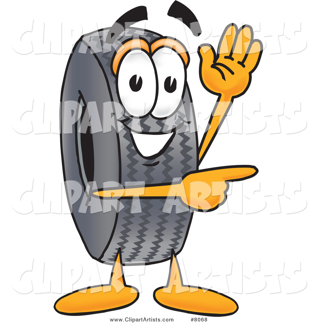 Rubber Tire Mascot Cartoon Character Waving and Pointing
