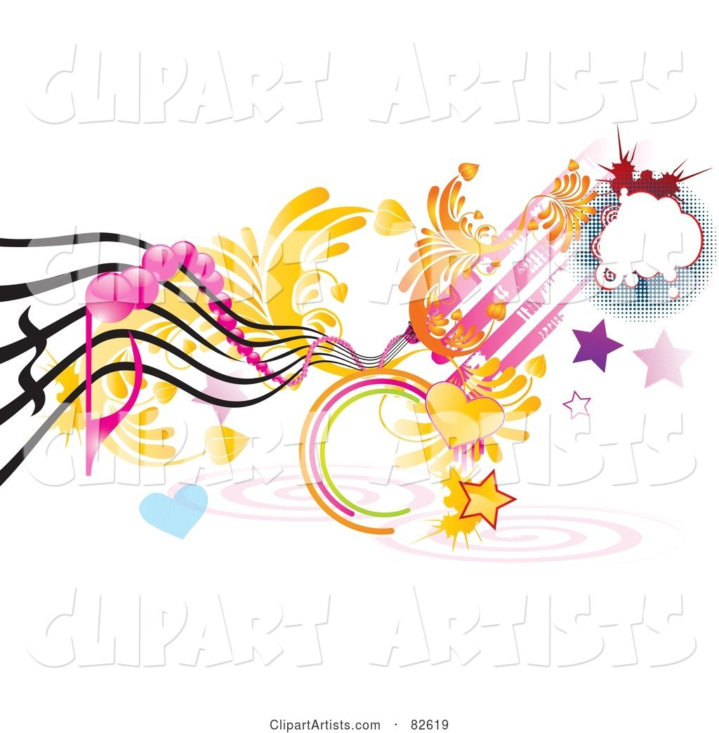 Rungy Funky Music Design of Hearts, Stars, Spirals