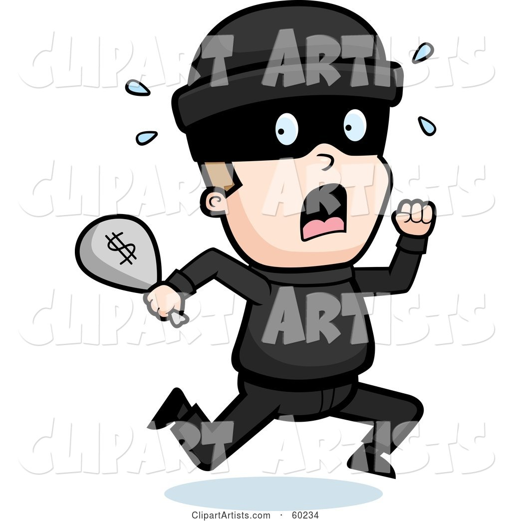 Running Burglar with a Bag of Cash