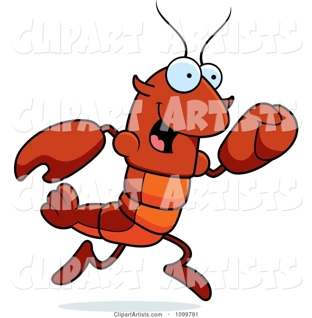Running Lobster or Crawdad Mascot Character