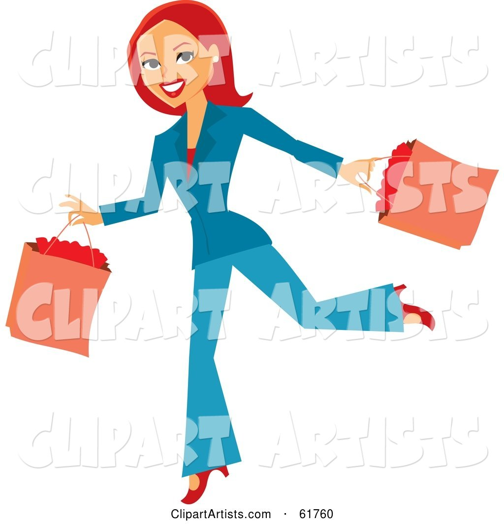 Running Redhead Woman Carrying Shopping Bags