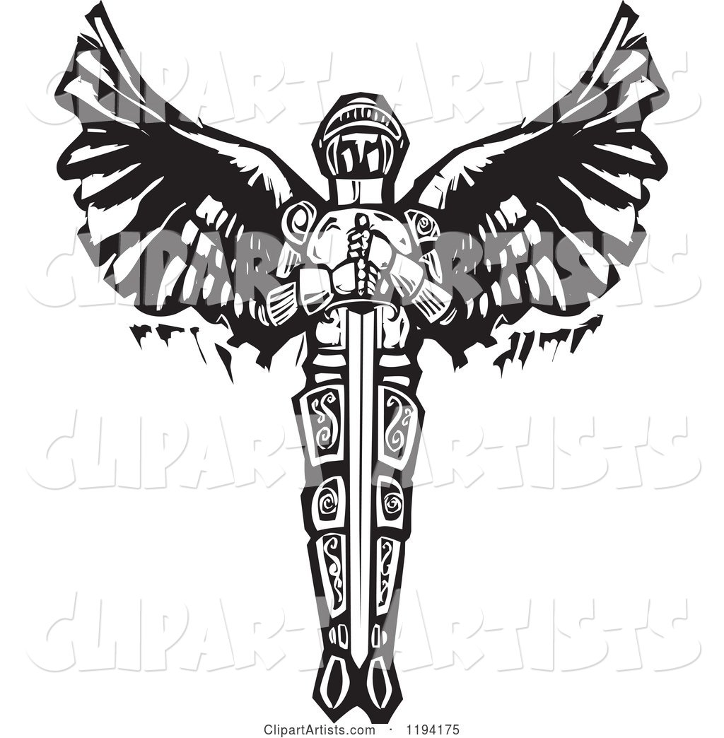 Saint michael the archangel with a sword black and white woodcut saint michael the archangel with a sword black and white woodcut biocorpaavc Images