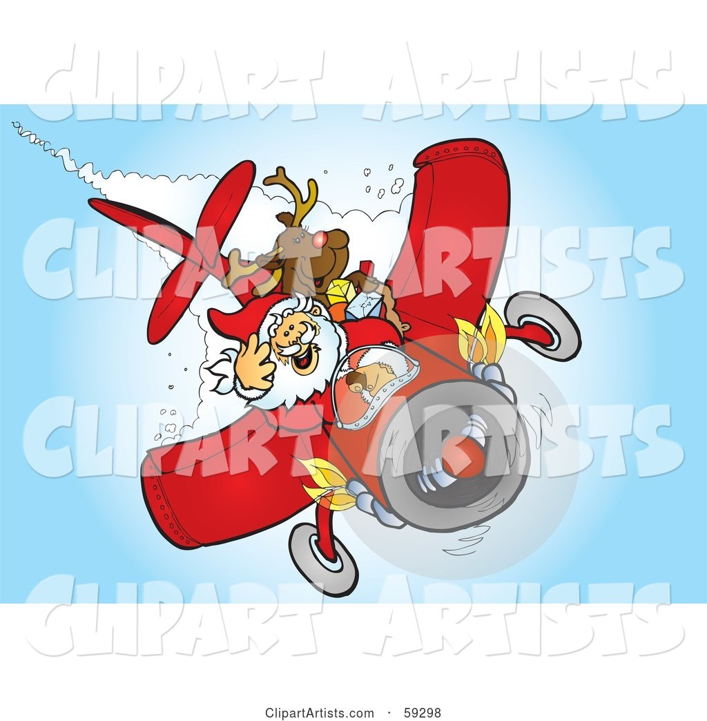 Santa and Rudolph Flying a Plane