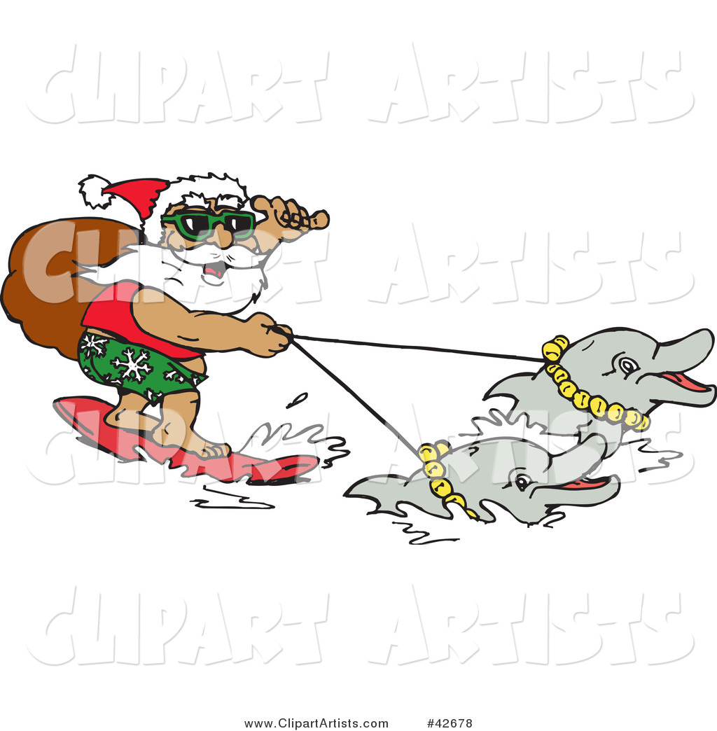 Santa Carrying His Sack While Surfing and Holding Reins to Dolphins