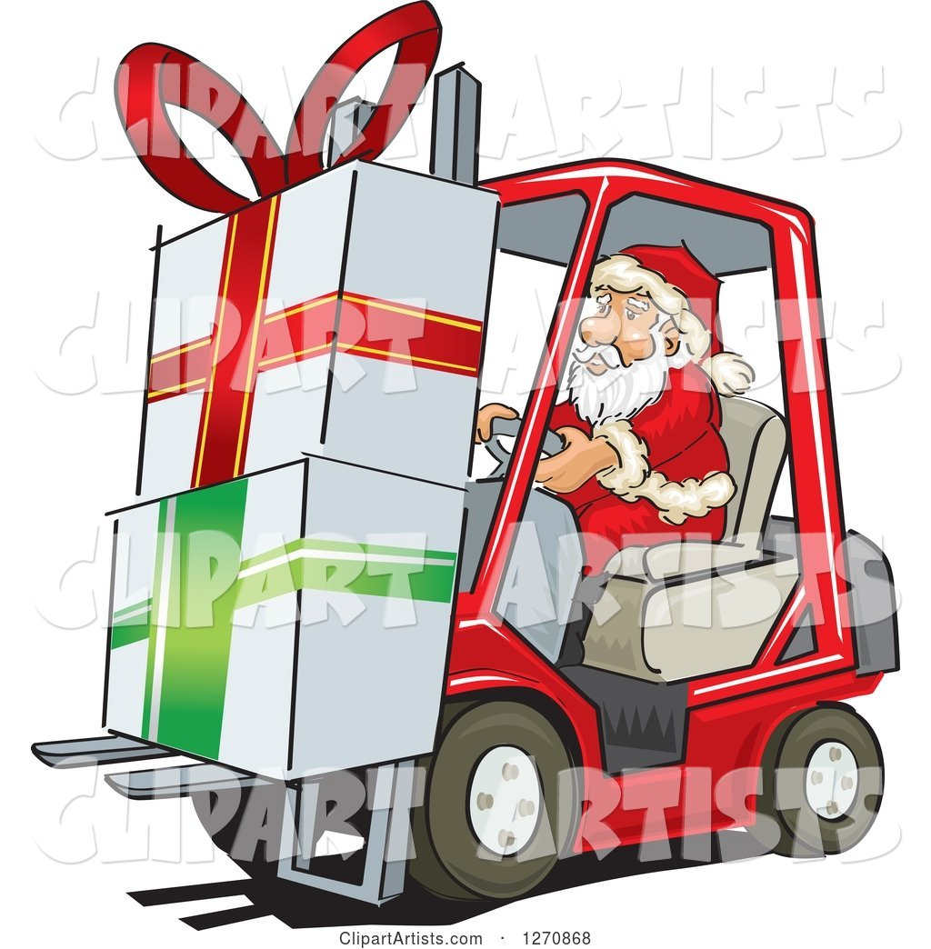 Santa Claus Moving Big Christmas Gifts on a Forklift
