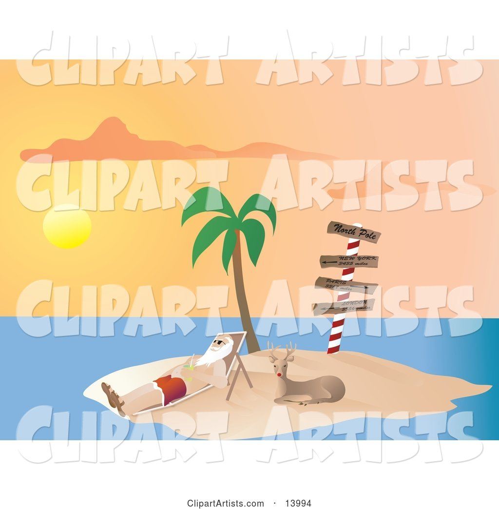Santa Claus Vacationing and Relaxing on a Lounge Chair Beside Rudolph Under a Palm Tree on a Tropical Island at Sunset
