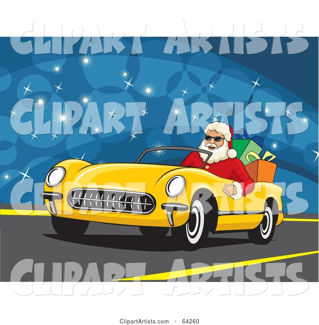 Santa Driving His Convertible Yellow Car with Christmas Presents in the Back