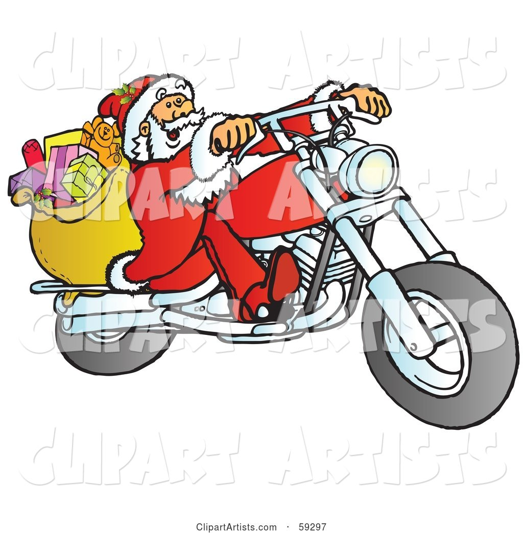 Santa with His Toy Sack, Riding a Chopper Motorcycle