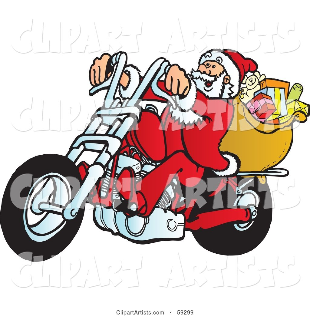 Santa with His Toy Sack, Riding a Motorcycle