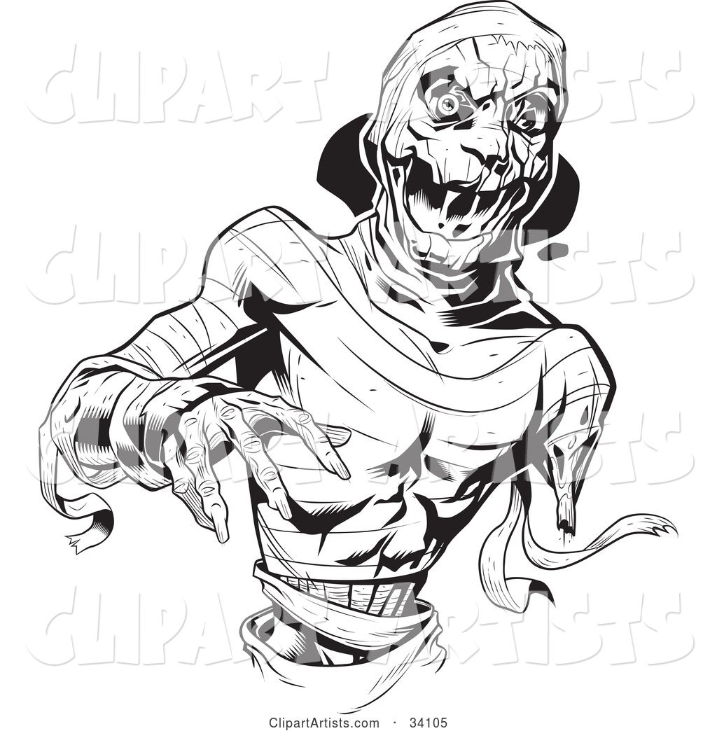 Scary Mummy with Loose Bandages, Reaching Forward