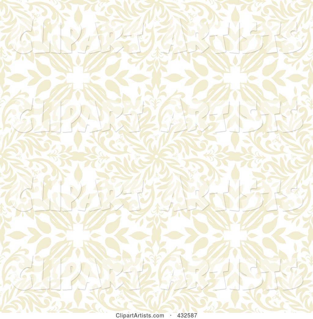 Seamless Beige Floral Pattern Background