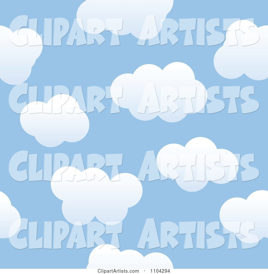 Seamless Blue Sky and Puffy White Cloud Background Pattern