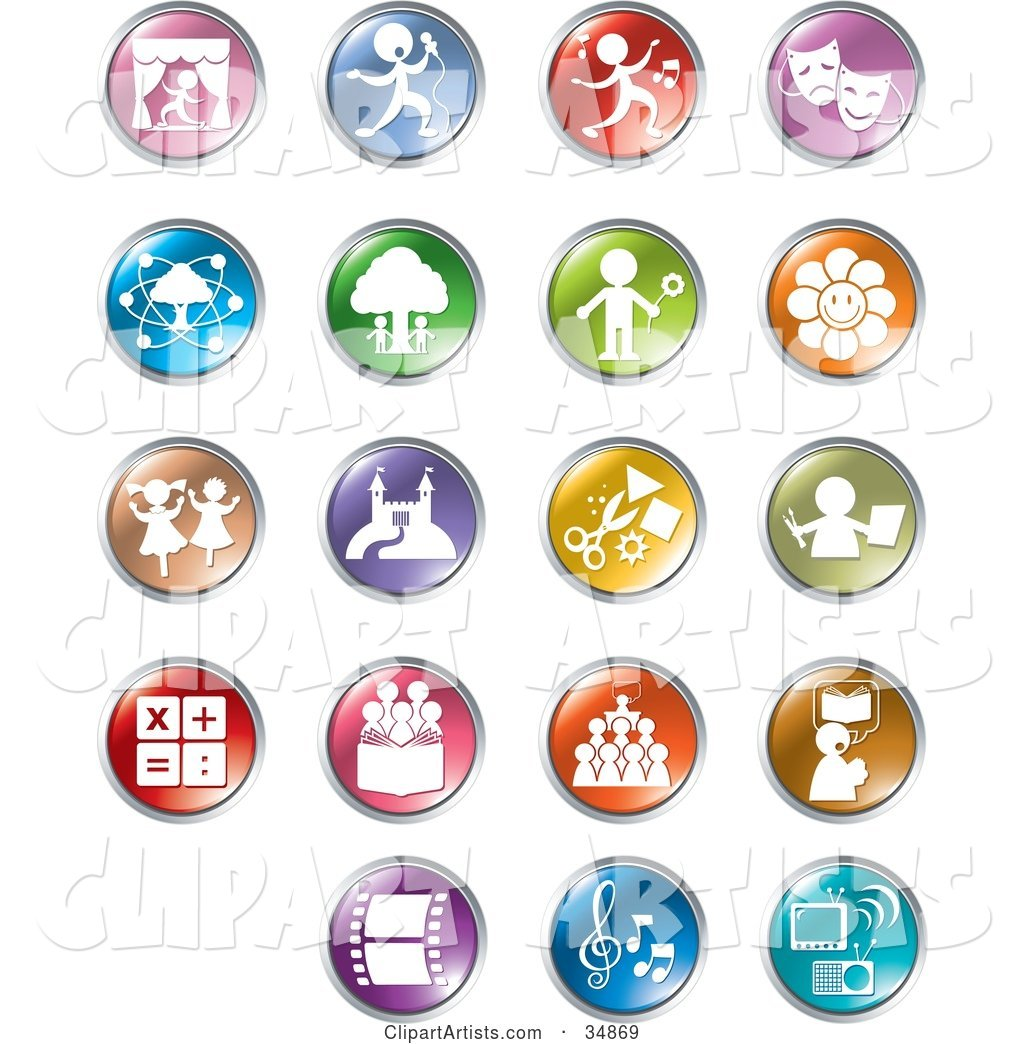 Set of Colorful Entertainment and Business Buttons