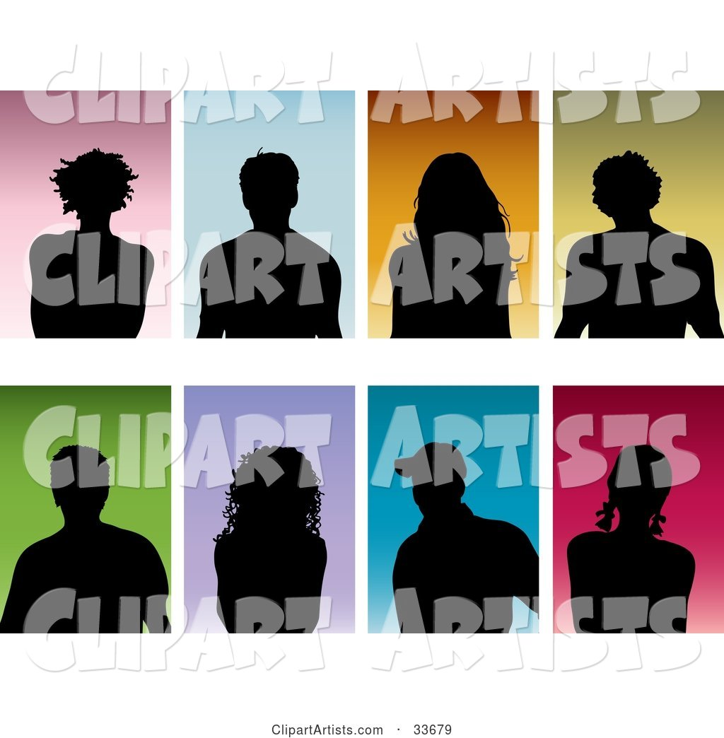 Set of Eight Silhouetted Men and Women on Colorful Backgrounds