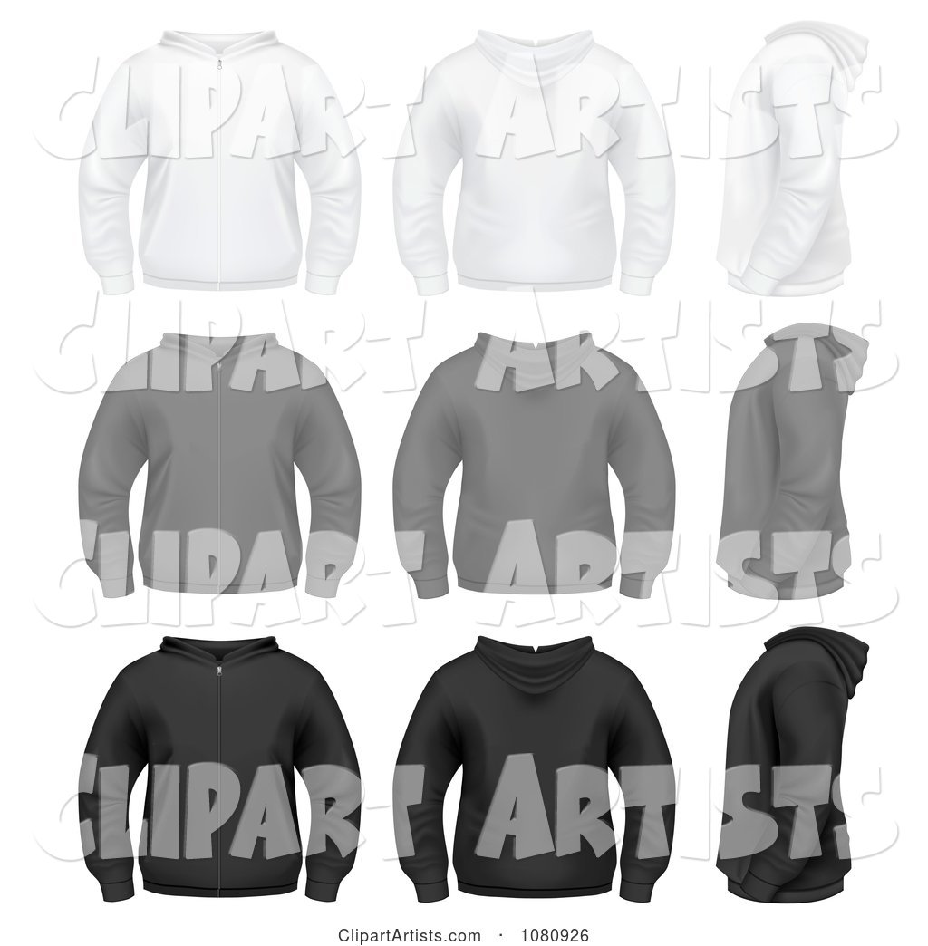 Set of White Gray and Black Zip up Hoodie Sweaters