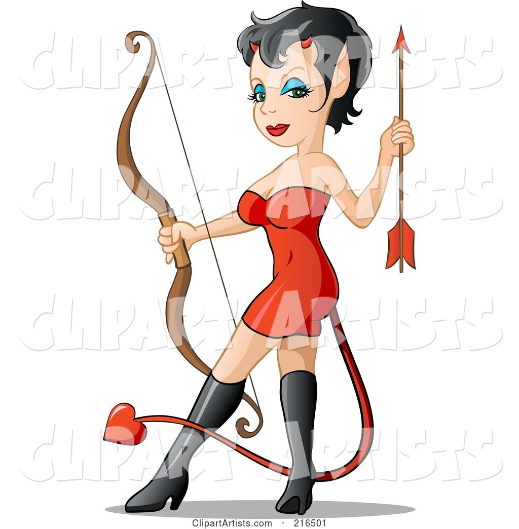 Sexy She Devil in a Red Dress and Black Boots, Holding a Bow and Arrow