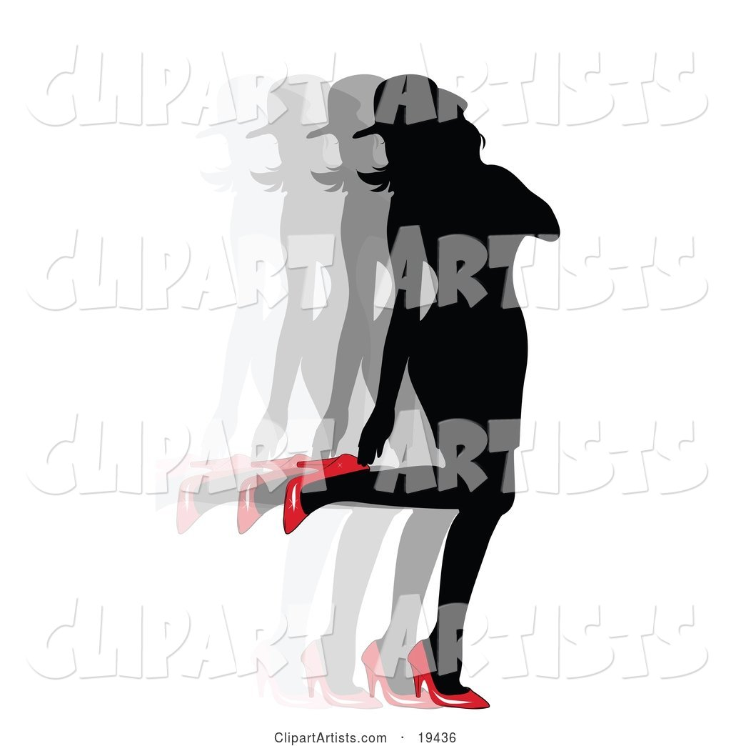 Sexy Silhouetted Woman in a Dress and Hat, Looking Back at Her Red High Heel Shoes