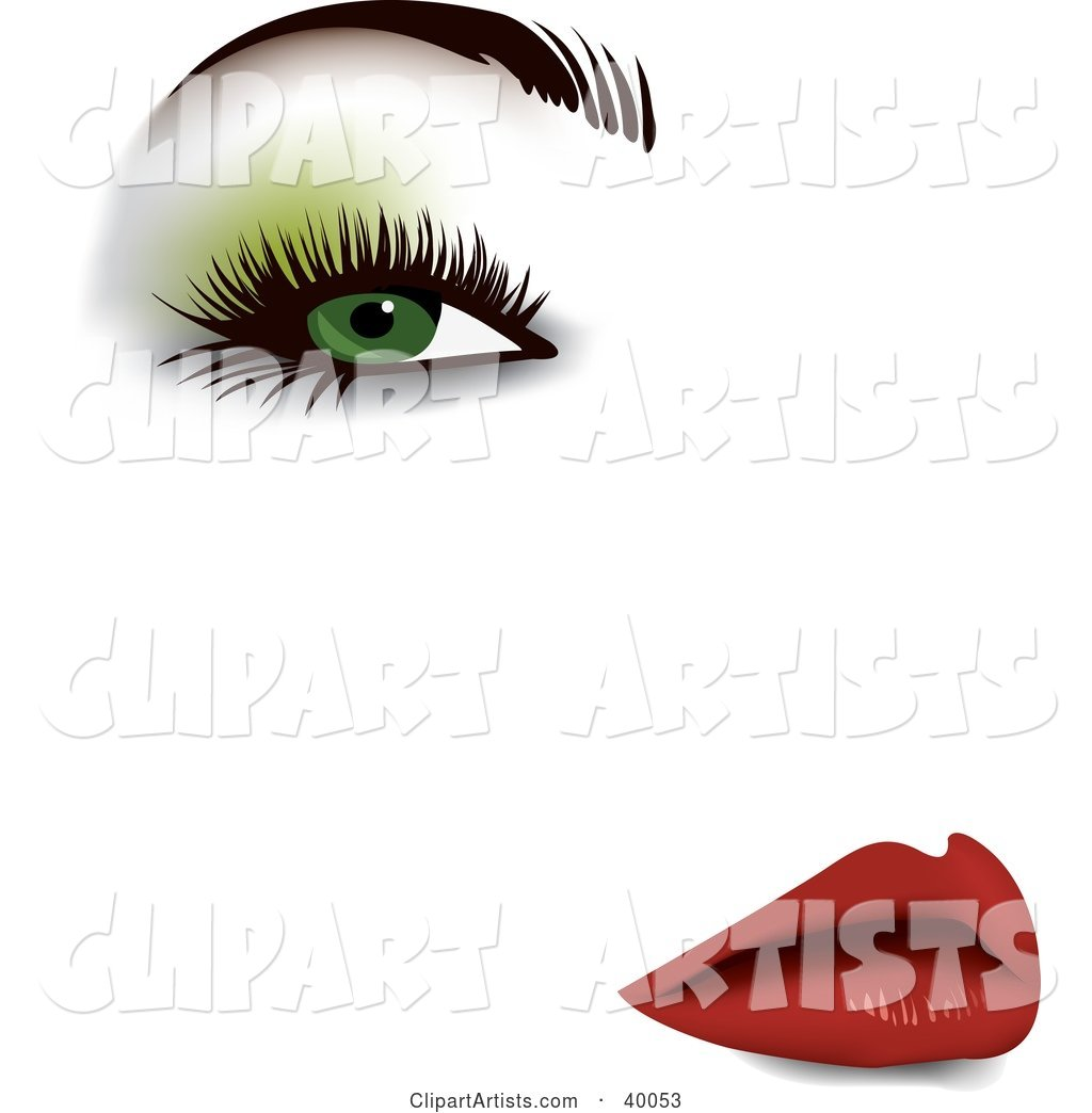 Sexy Woman's Face with Green Eyeshadow, Thick Eyelashes, Groomed Brows and Red Lips