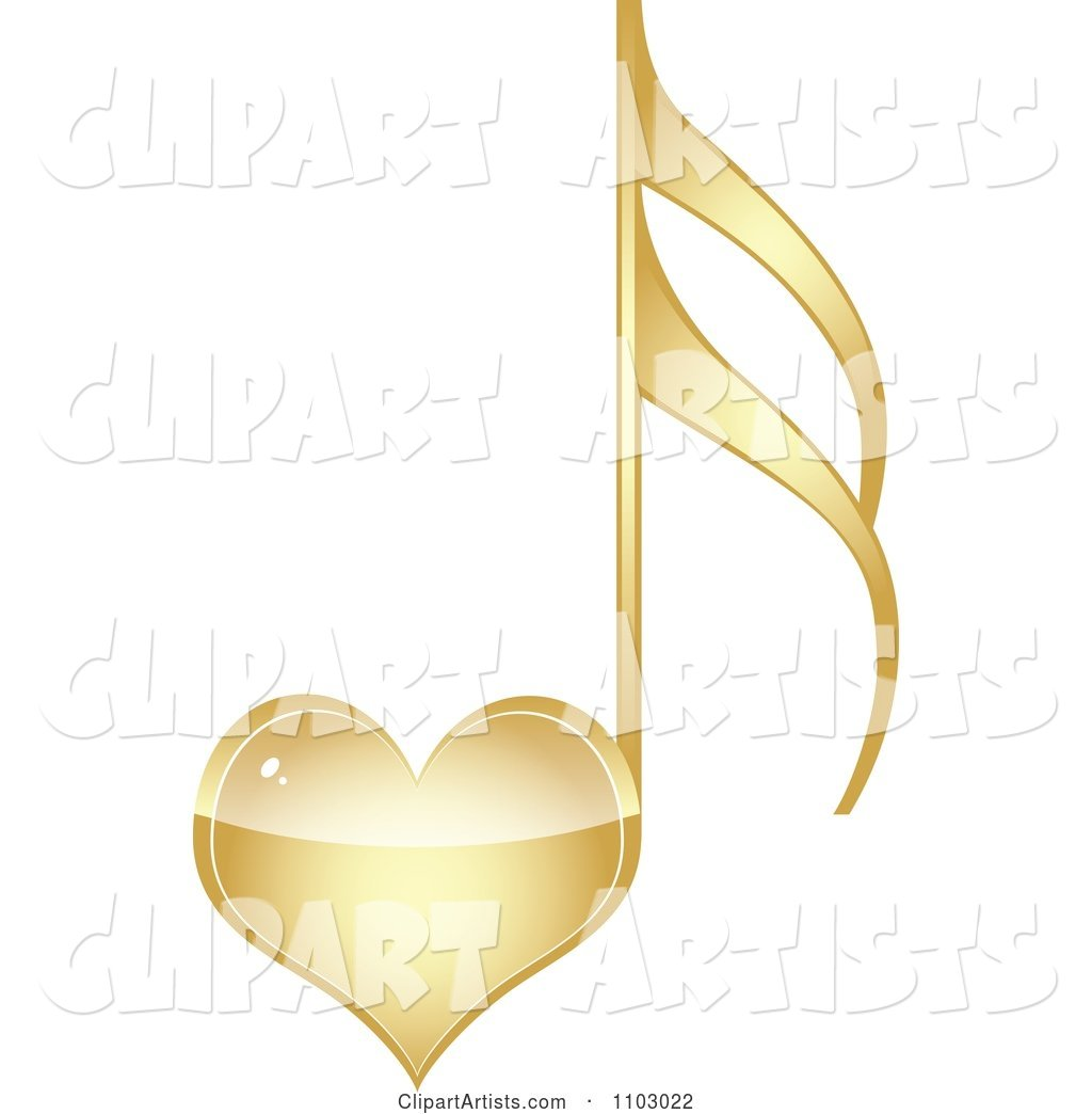 Shiny Gold Heart Love Music Note