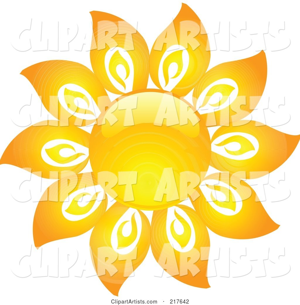 Shiny Orange Hot Summer Sun Design Element - 16