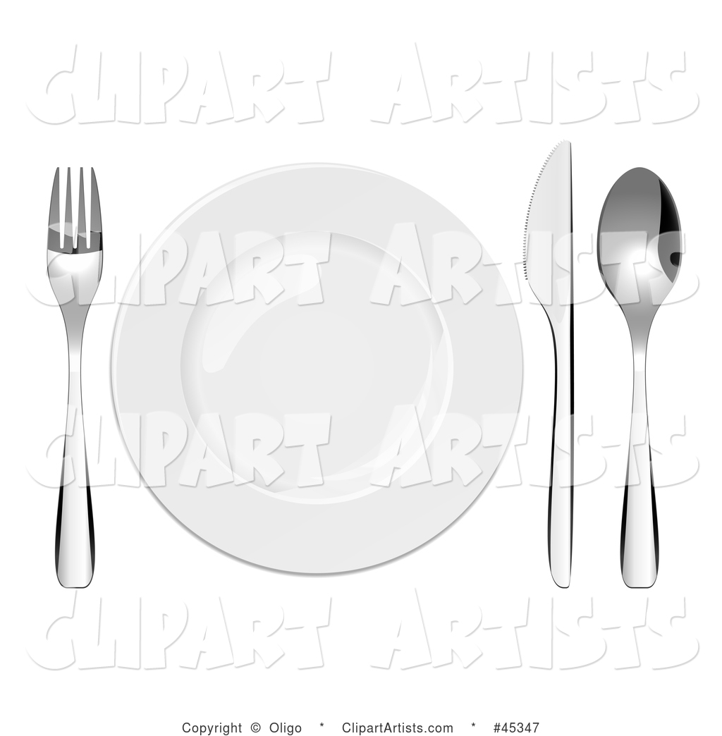 Shiny Plate and Cutlery Set on a Table