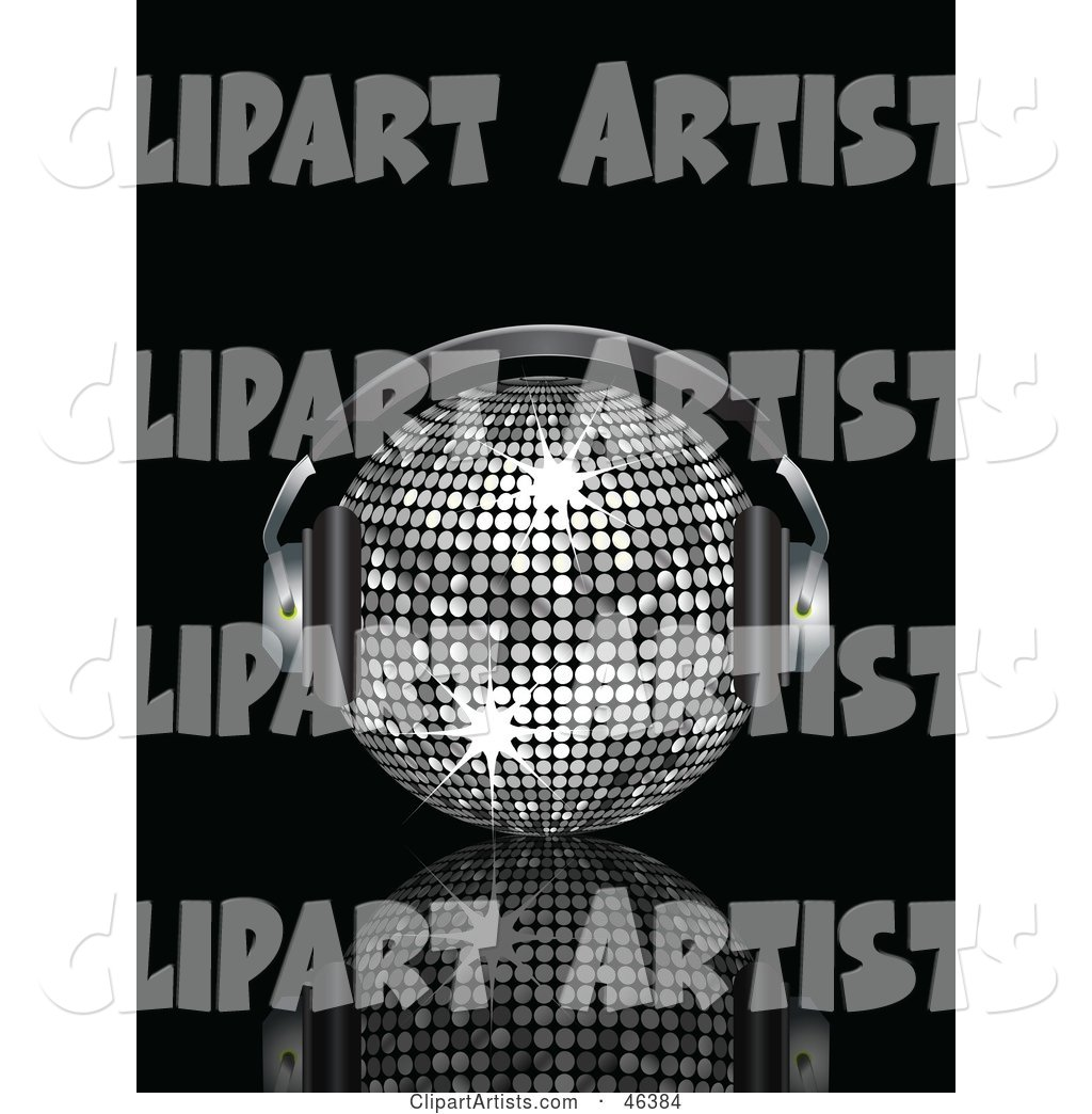 Shiny Silver Disco Ball Listening to Tunes with Headphones