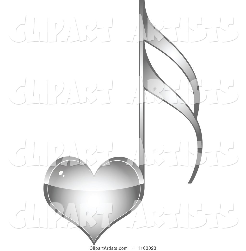 Shiny Silver Heart Love Music Note