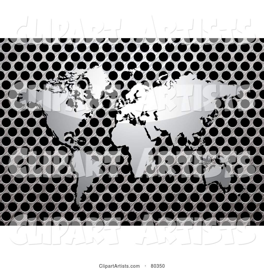 Shiny Silver World Map on a Brushed Metal Grill over Black