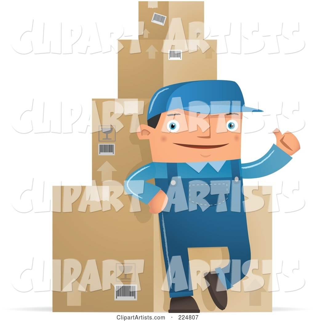 Shipping Warehouse Man Leaning Against Packaged Boxes