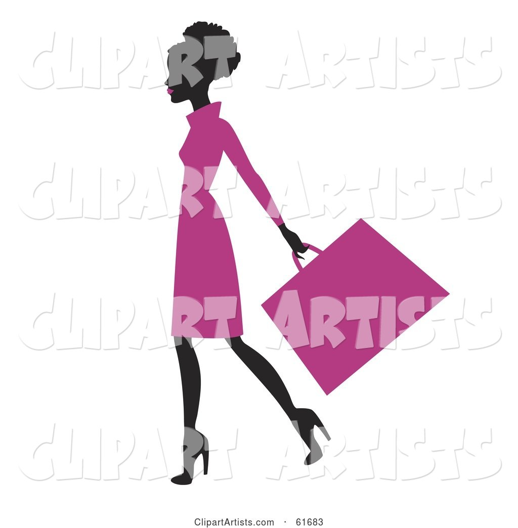 Silhouetted African American Woman in a Pink Dress, Carrying a Shopping Bag
