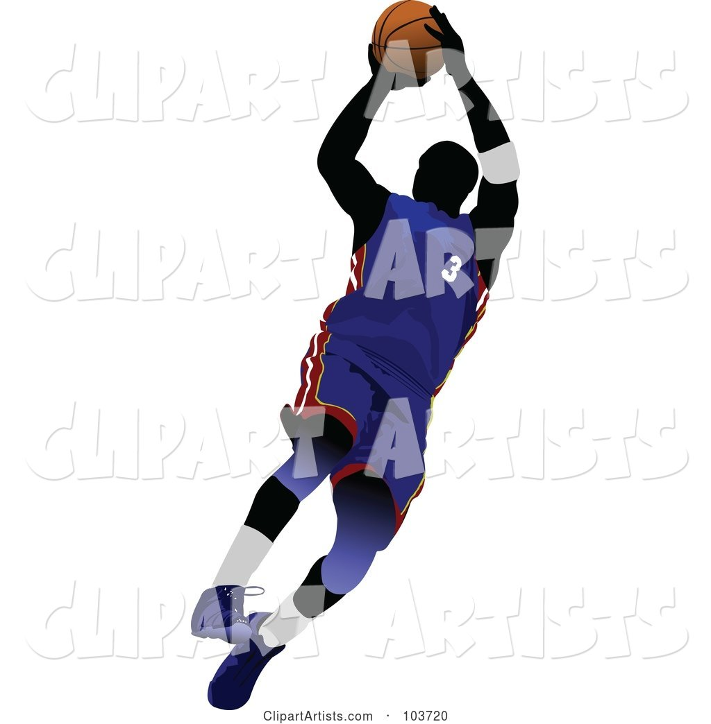 Silhouetted Basketball Player Jumping in a Blue Uniform