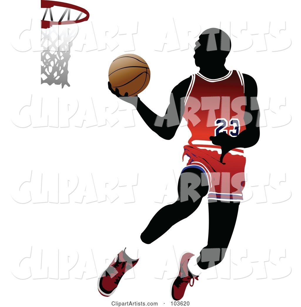 Silhouetted Basketball Player Leaping to the Hoop