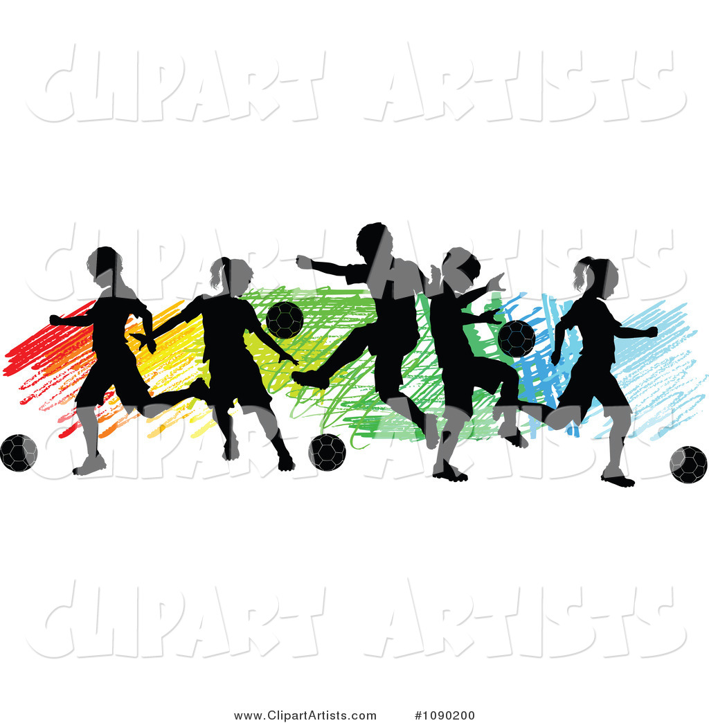 Silhouetted Children Playing Soccer over Colorful Scribbles