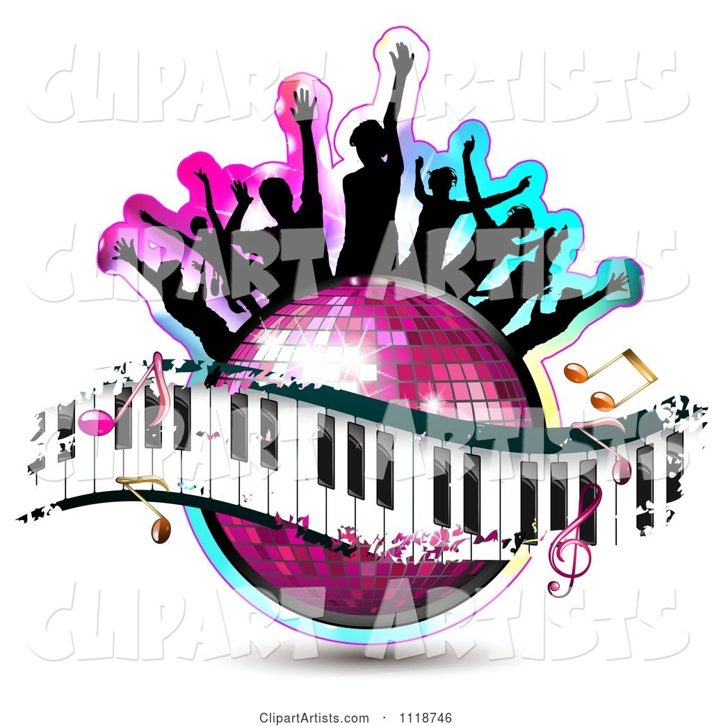 Silhouetted Dancers on a Disco Ball with a Keyboard and Music Notes