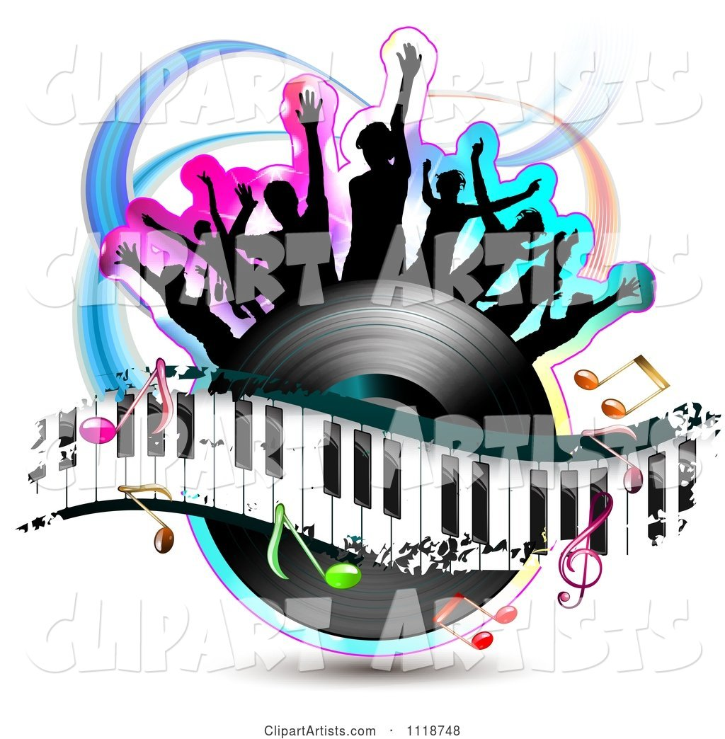 Silhouetted Dancers on a Vinyl Record with a Keyboard and Music Notes 3