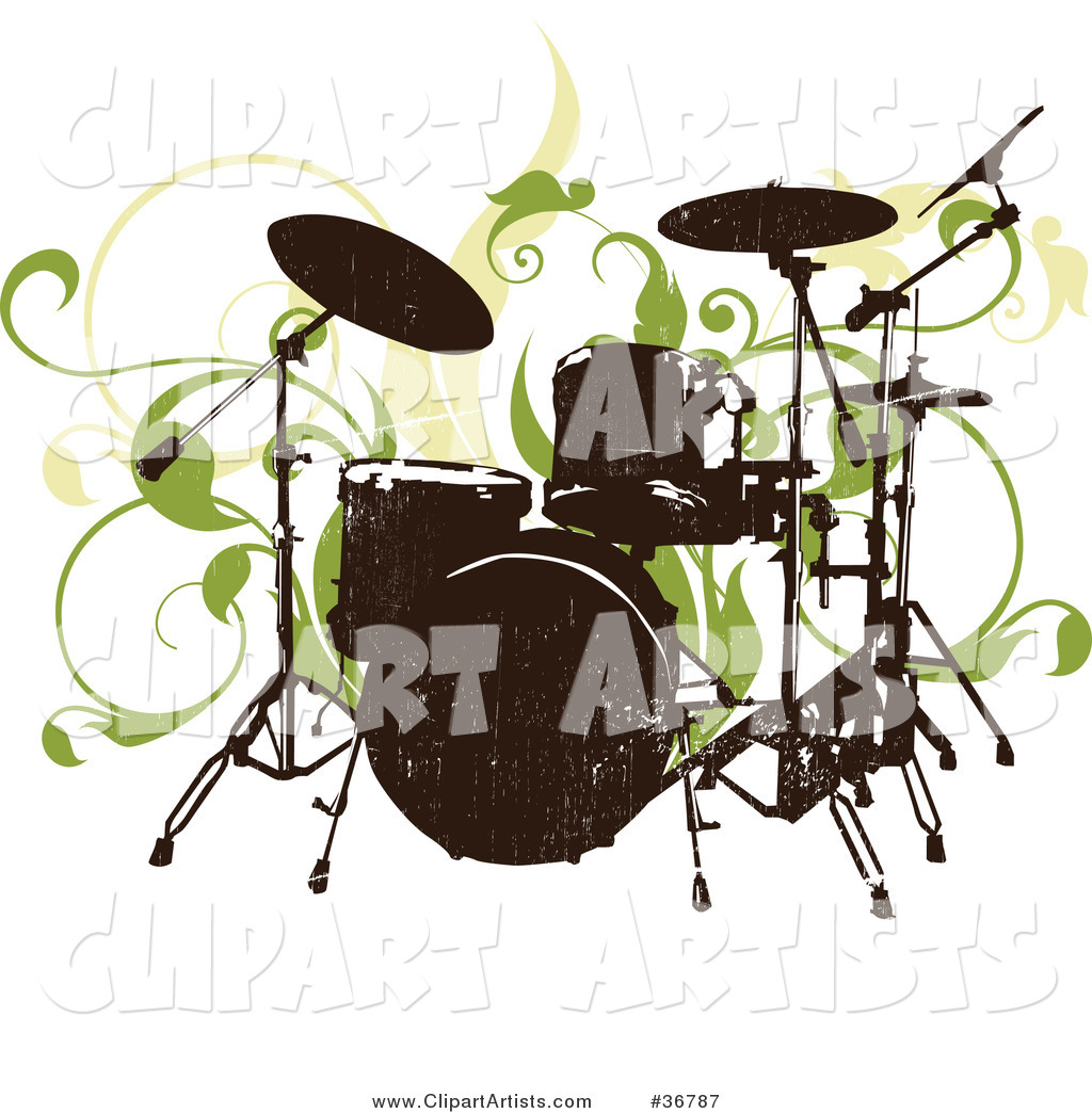 Silhouetted Drum Set Abd Green Vines on a White Background
