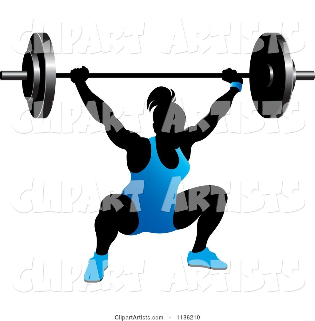 Silhouetted Female Bodybuilder Lifting a Heavy Barbell and Wearing Blue