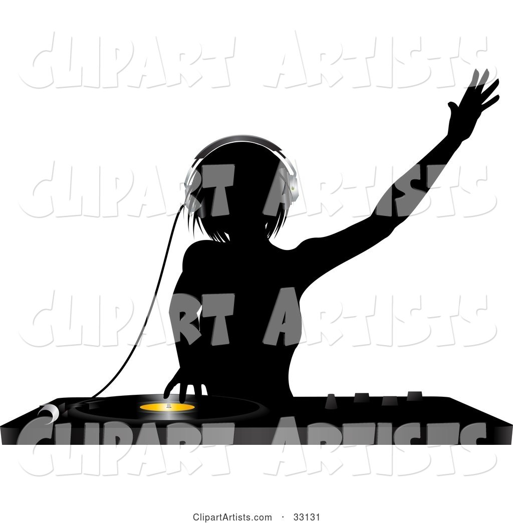 Silhouetted Female DJ Holding Her Arm up in the Air, Wearing Headphones and Mixing a Record