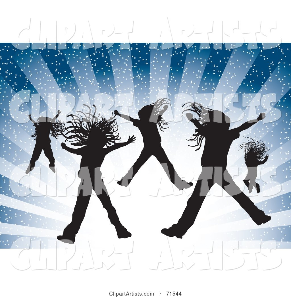Silhouetted Girls Jumping over a Bursting Blue Background