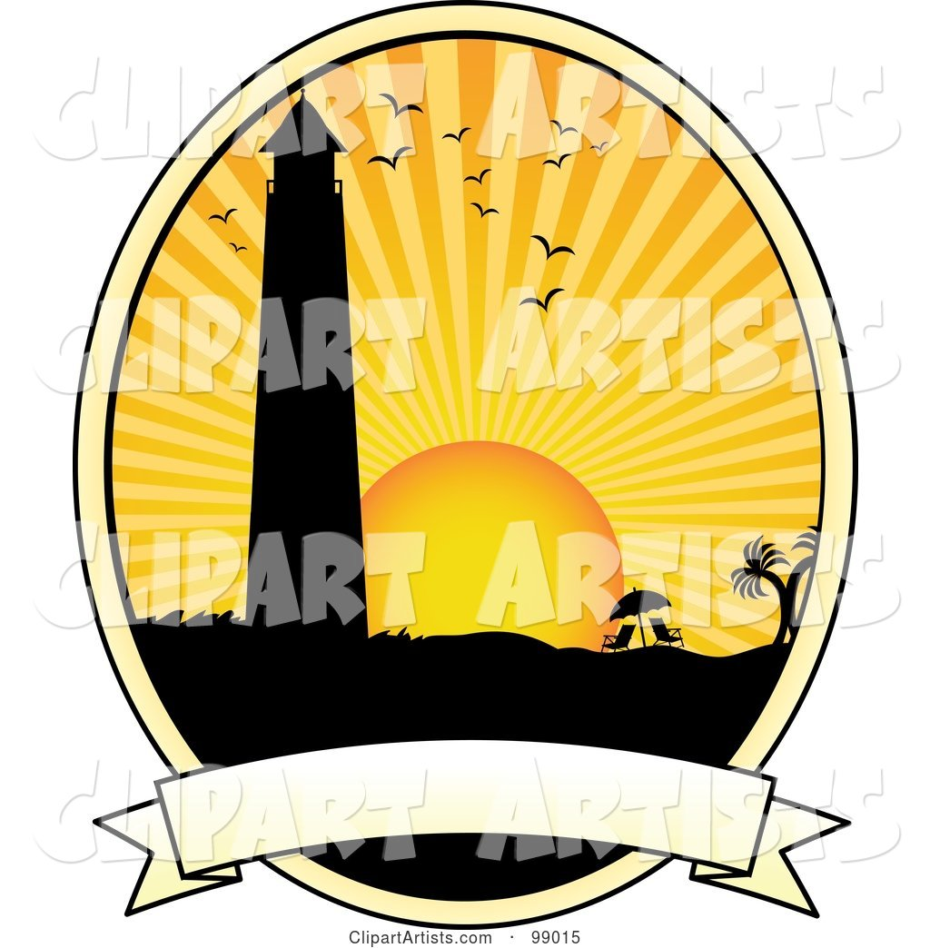 Silhouetted Lighthouse over a Blank Banner