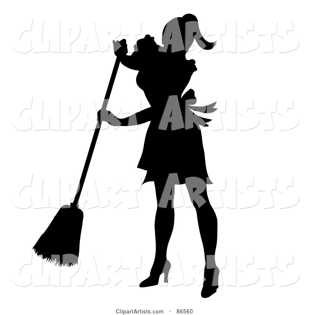 Silhouetted Maid Smiling and Sweeping
